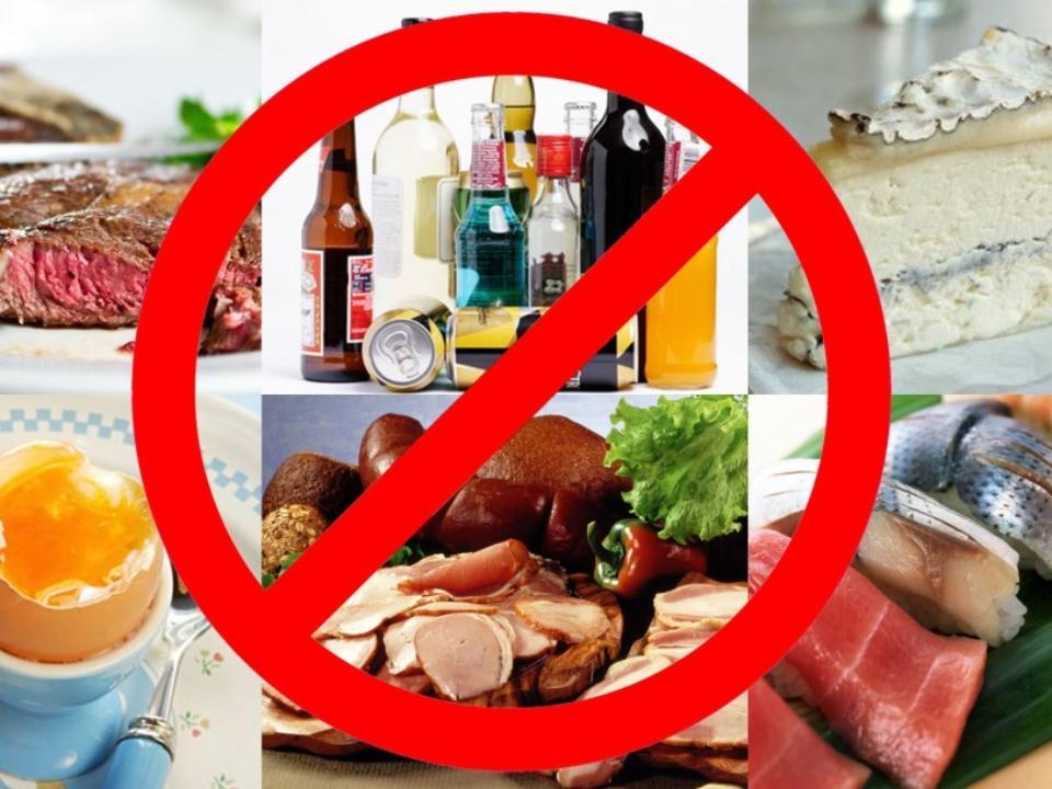 знак запрета и пища