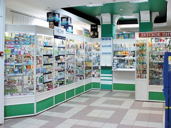 аптечный зал с витрина